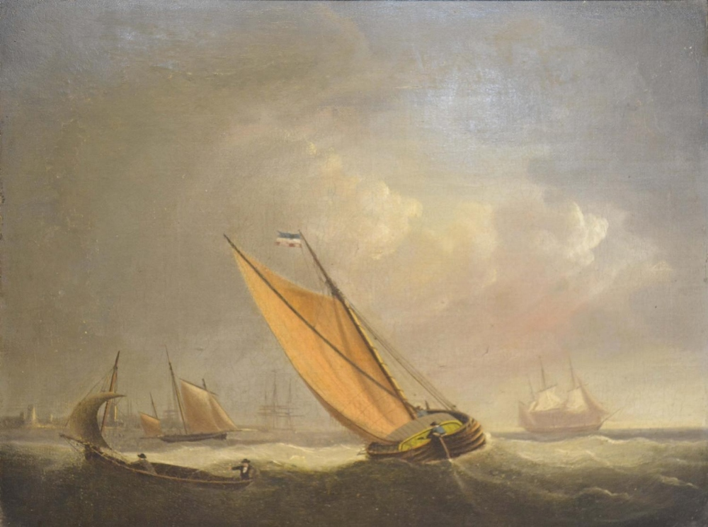 Lot 73 - Early 19th Century Dutch School, Fishing Barges at Sea, oil on canvas, 27 x 36cm