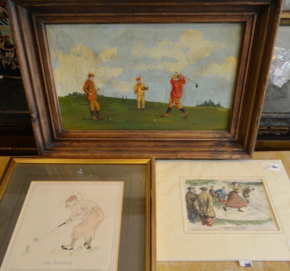 Lot 78 - H Cobb, Three Figures Playing Golf, oil on board, together with two prints