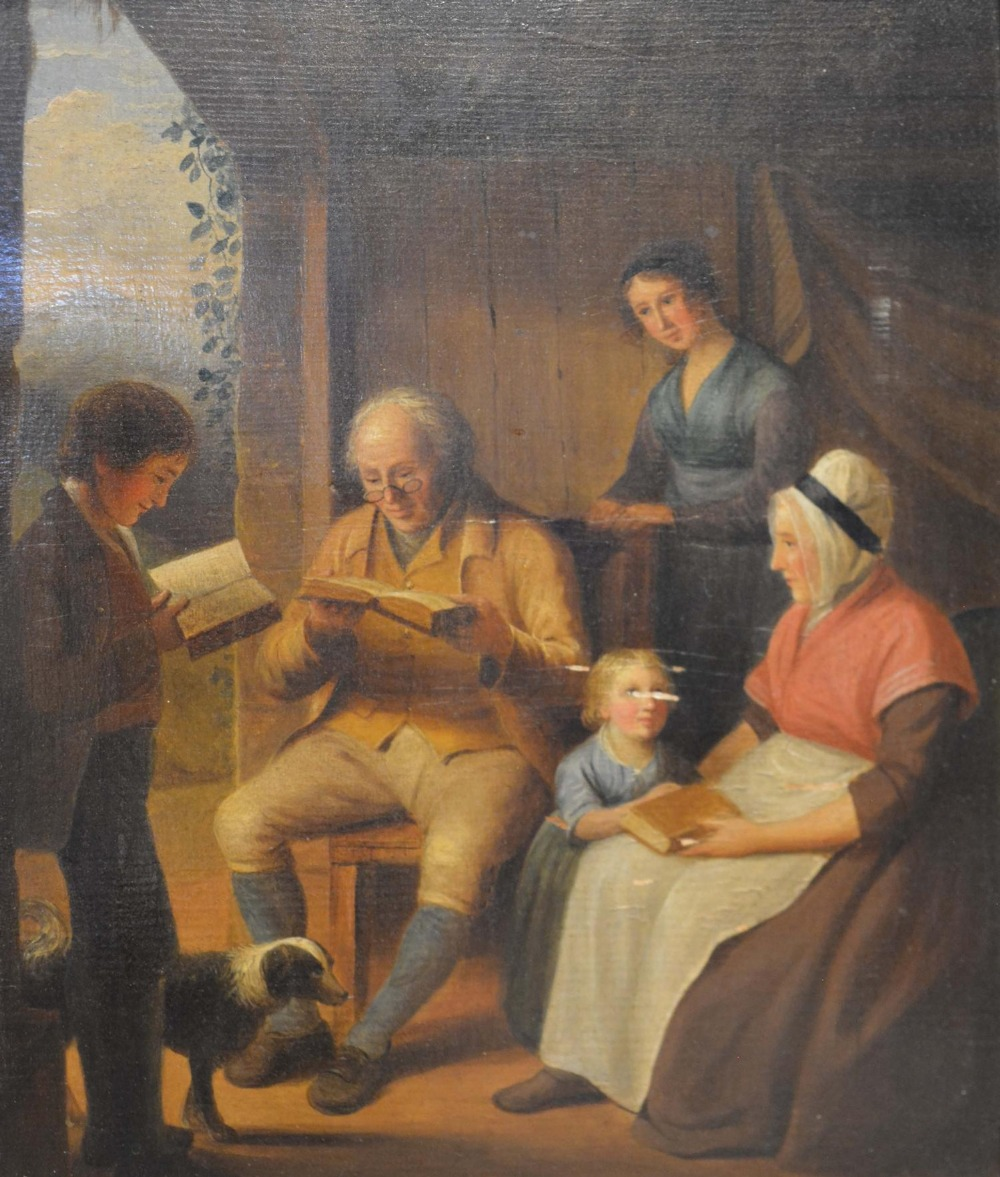 Lot 72 - Attributed to Alexander Carse, 1770-1843, England, Interior Scene with Figures and Children Reading,