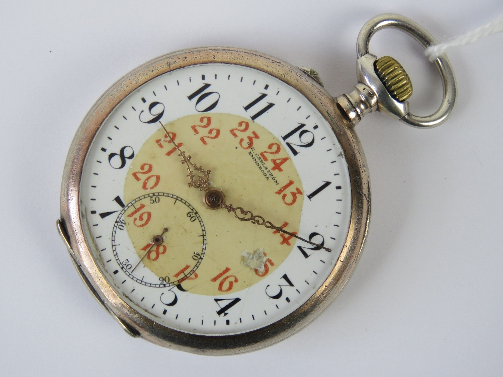 Lot 351 - A silver Carlstrom top wind pocket watch