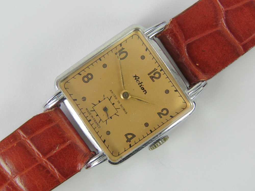 Lot 350 - A French vintage Action manual wristwatc