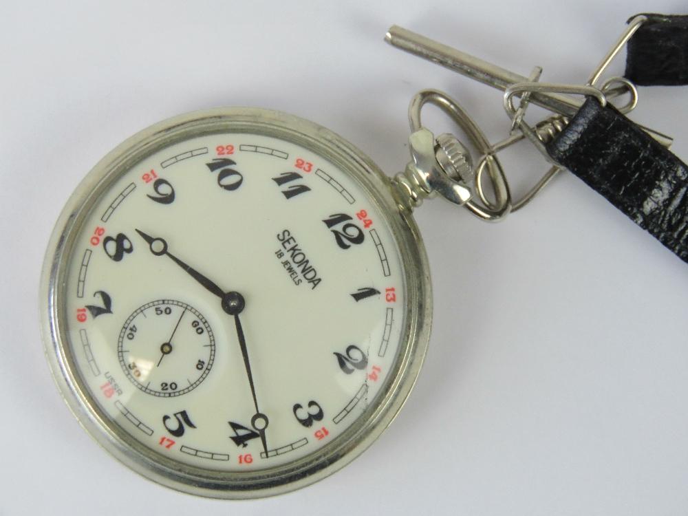 Lot 360 - A Sekonda 15 Jewel silver plated pocket