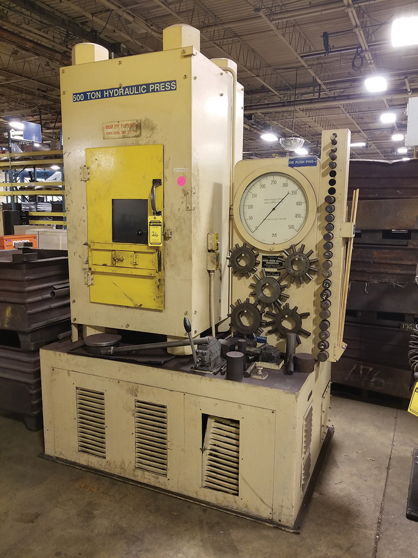 Lot 26 - SERVICE HYDRAULIC PRESSES CCTM 500-TON HYDRAULIC PRESS/ DIE ASSEMBLER, S/N 2630, 30'' X 18''