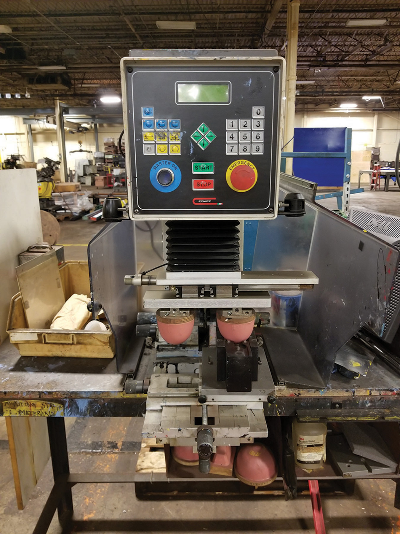 Lot 1 - 2004 COMEC INK PRINT XP-06 PAD PRINT MACHINE, 110-V ON STEEL WORK TABLE WITH SUPPORT PARTS AND PADS