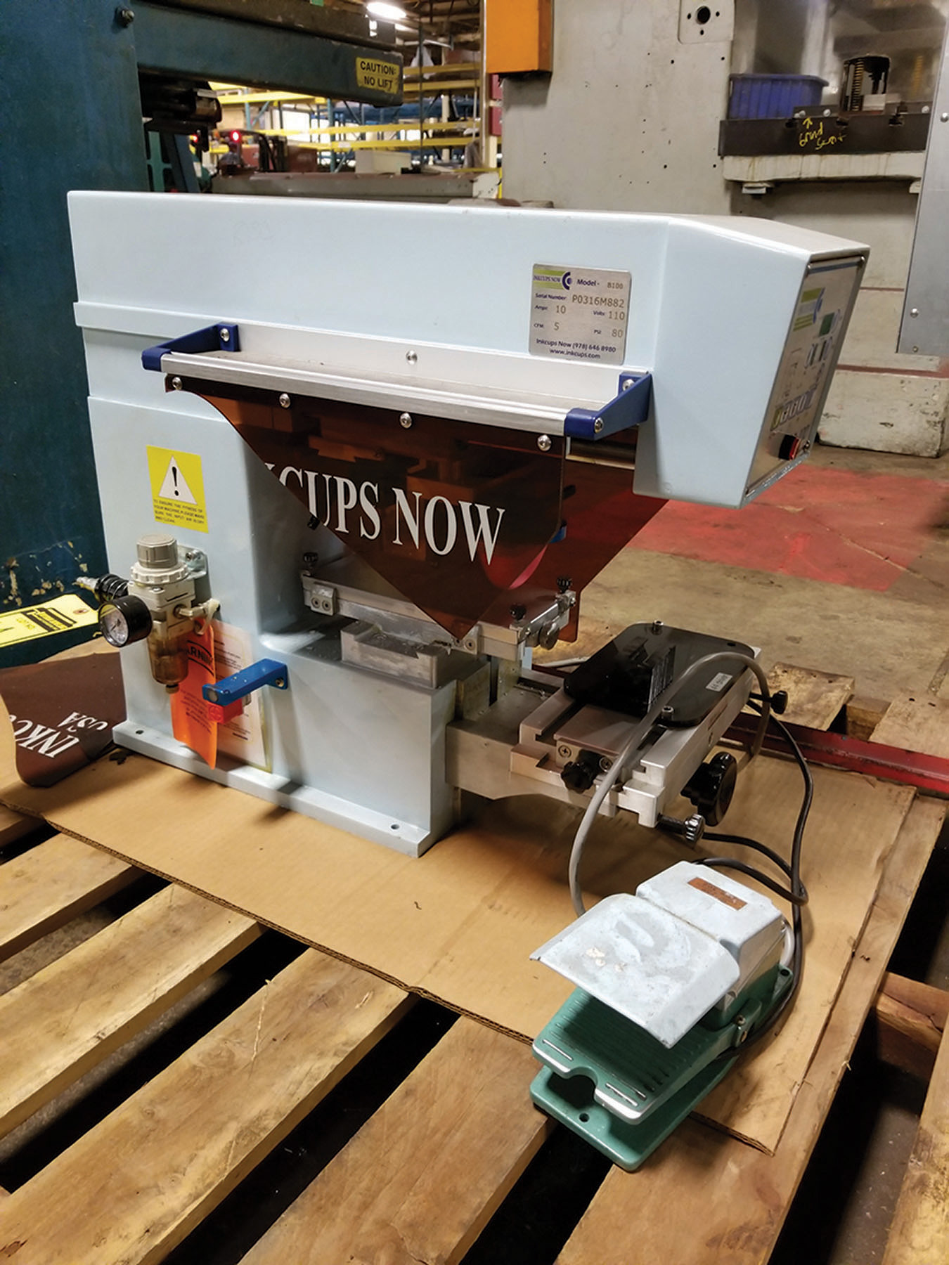 Lot 1A - INKCUPS NOW B100 PAD STAMP PRINTER, S/N P0316M882, 110V, FOOT SWITCH, 80-PSI