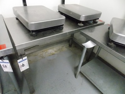 """Lot 49 - Stainless Table   all stainless steel table, 48""""x24""""x3""""H   MODEL#   SERIAL#   * Skidding and load"""