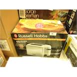 Russell Hobbs brushed 2 slice toaster, unchecked and boxed.