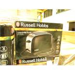 Russell Hobbs Colours Plus+ jet black 2 slice toaster, untestd and boxed.