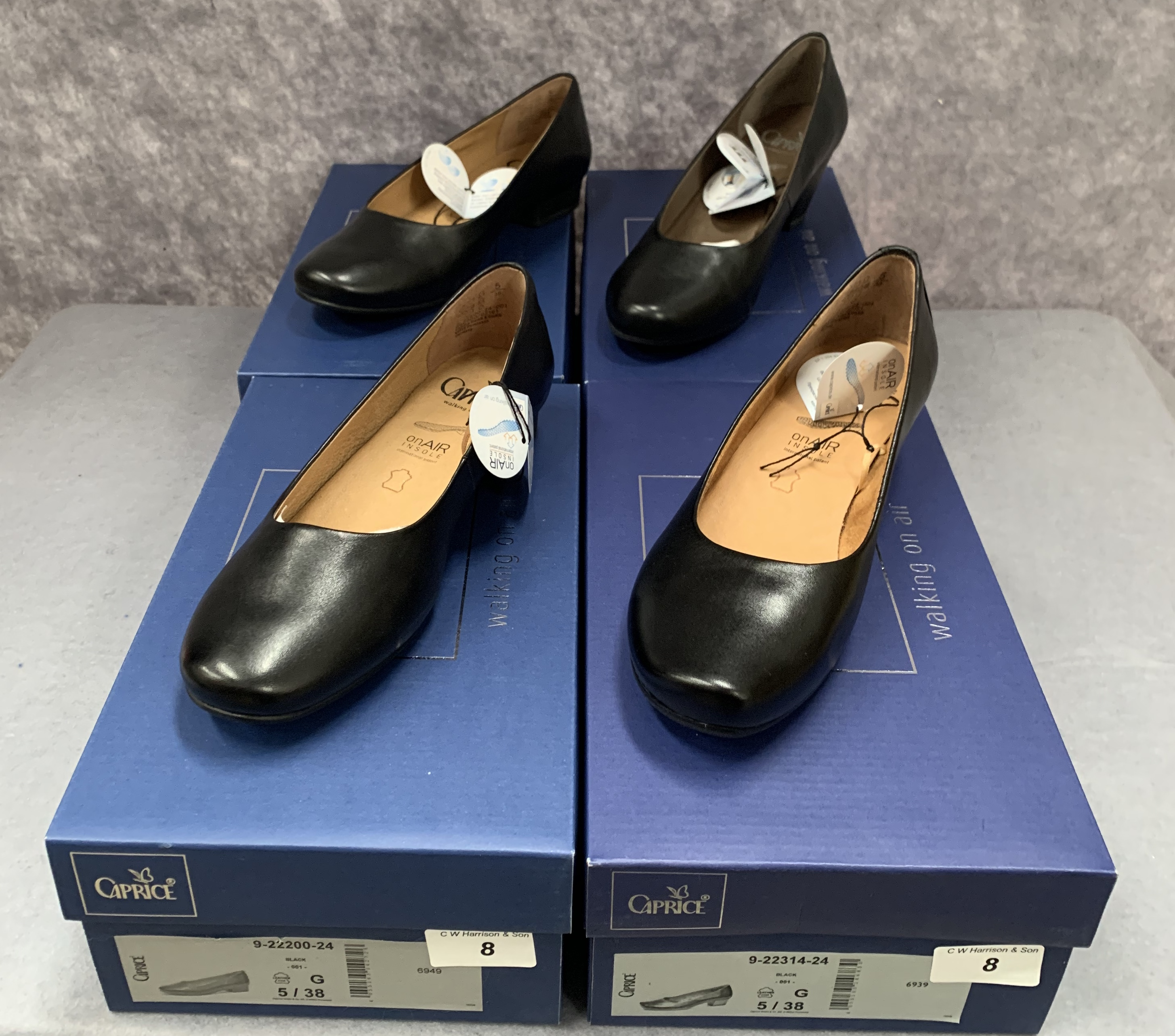 Four pairs of Caprice ladies shoes in black, various styles, size 5, retail price £59.