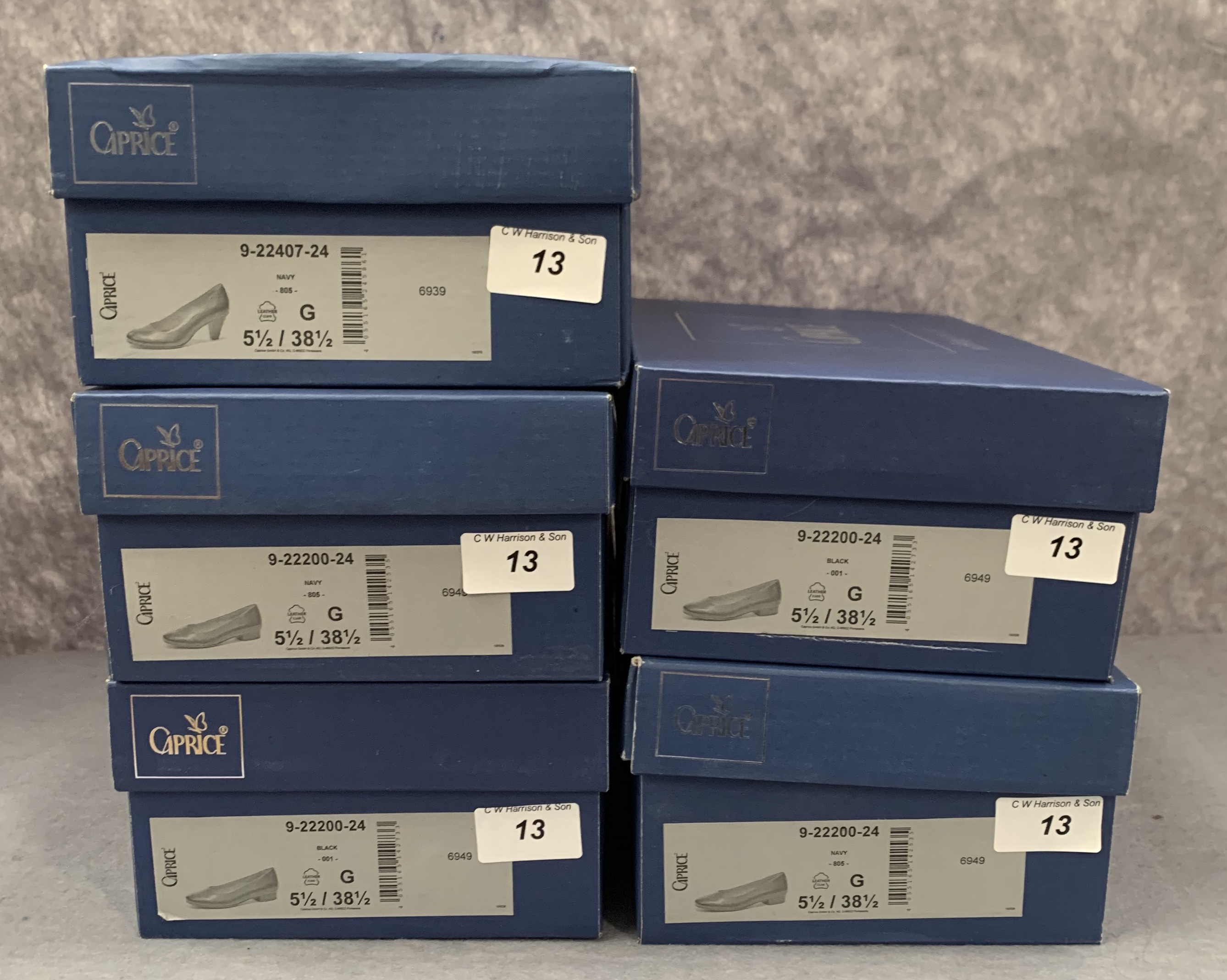 Five pairs of Caprice ladies shoes in black (2) and navy (3), various styles, size 5½, - Image 2 of 2
