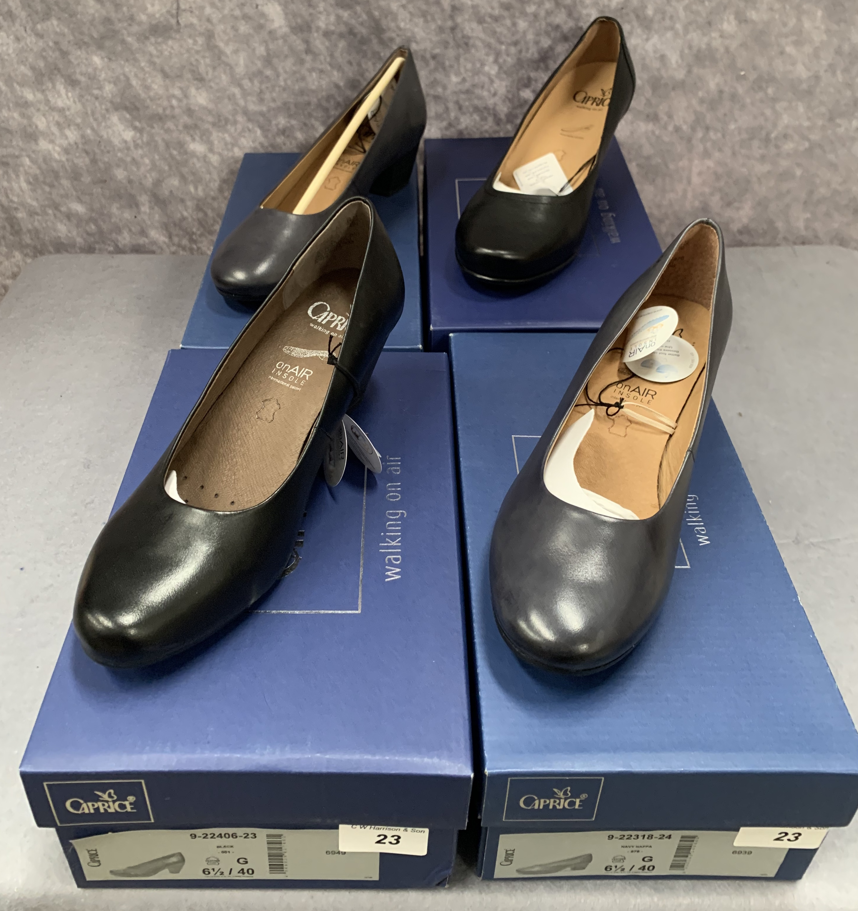 Four pairs of Caprice ladies shoes in black (2) and ocean (2), various styles, size 6½,