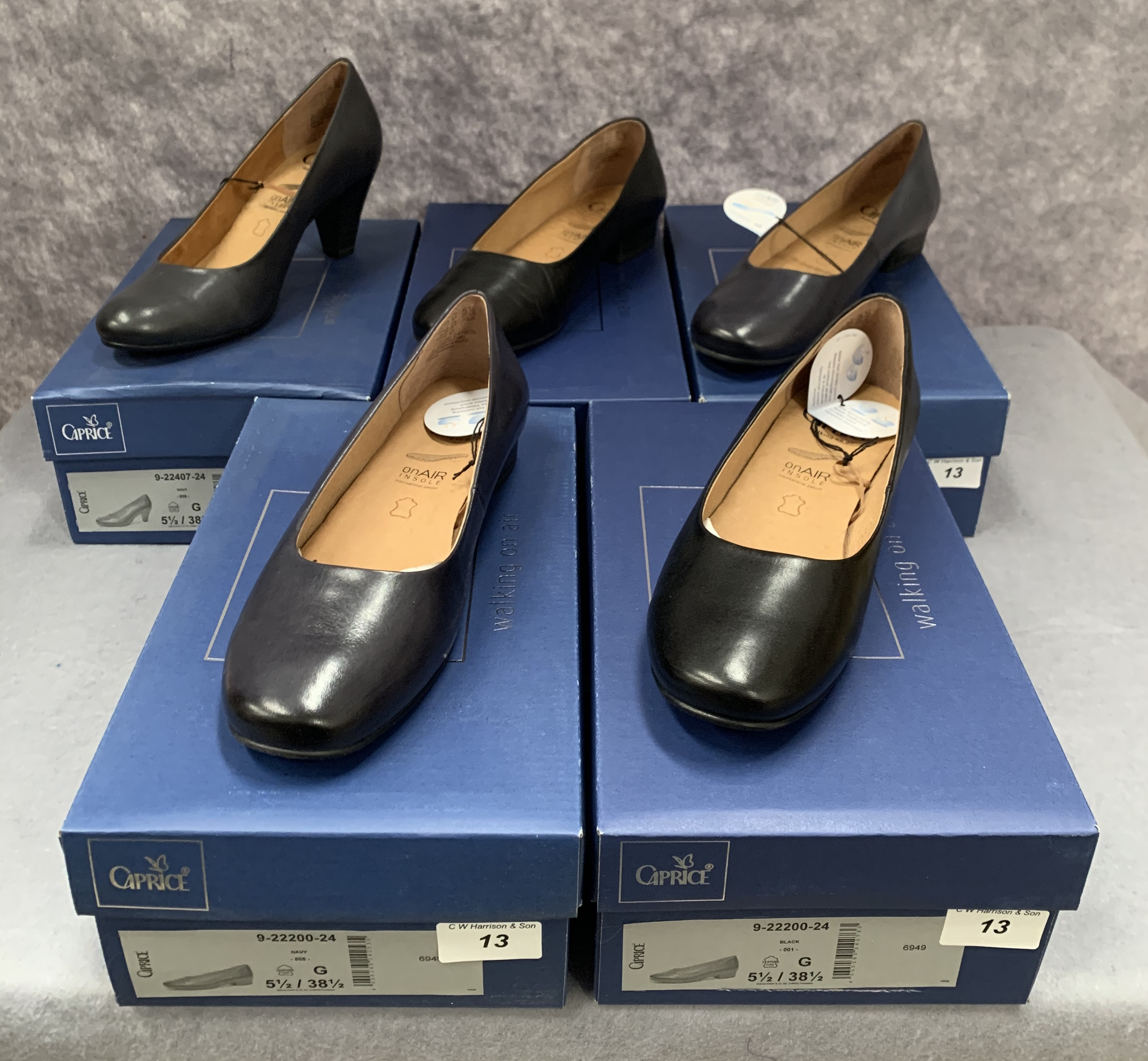 Five pairs of Caprice ladies shoes in black (2) and navy (3), various styles, size 5½,