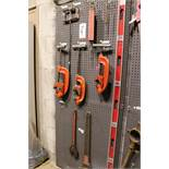 "LOT - (1) SECTION OF STEEL PEG BOARD, 32"" X 84"", W/ CONTENTS: (2) RIDGID NO. 4-S AND (1) NO. 3-S"