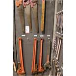 "LOT - (1) SECTION OF STEEL PEG BOARD, 32"" X 84"", W/ CONTENTS: (3) LARGE RIDGID PIPE WRENCHES,"