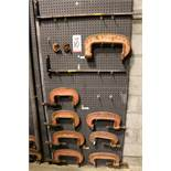 "LOT - (1) SECTION OF STEEL PEG BOARD, 32"" X 84"", W/ CONTENTS: (2) EXTENSION BARS AND INDUSTRIAL """