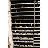 LOT - CONTENTS OF (4) 3' SECTIONS OF SHELVING TO INCLUDE: MISC HAND TOOLS, RIVETS, INTERNAL PIPE