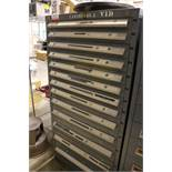 STANLEY VIDMAR 13-DRAWER PARTS/TOOL CABINET, W/ CONTENTS TO INCLUDE: REAMERS, DRILLS, TAPER SHANK
