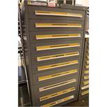 STANLEY VIDMAR 10-DRAWER PARTS/TOOL CABINET, W/ CONTENTS TO INCLUDE: IMPACT SOCKET RETAINING