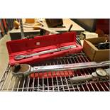 LOT - MISC HAND TOOLS TO INCLUDE: TORQUE WRENCHES, RIDGID PIPE WRENCHES, RATCHET, SOCKETS,