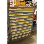 "STANLEY VIDMAR 11-DRAWER PARTS/TOOL CABINET, 44""HT, W/ CONTENTS TO INCLUDE: REAMERS, THREADED"