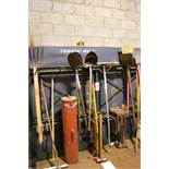 LOT - STEEL LAWN IMPLEMENT RACK, W/ CONTENTS TO INCLUDE: PITCHFORKS, SHOVELS, POST HOLE DIGGERS,
