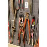 "LOT - (1) SECTION OF STEEL PEG BOARD, 32"" X 84"", W/ CONTENTS: (3) BOLT CUTTERS, LOPPERS, CRIMPERS,"