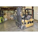 "CAT Model EP18T-36A 3500lb 191"" Lift, Solid Tired, 36 Volt, Electric Forklift, 5285 Hrs, s/n"