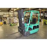 "Mitsubishi Model FB16KT 3000lb Capacity 188"" Lift, Solid Tired, 36 Volt Electric Forklift, 7119"
