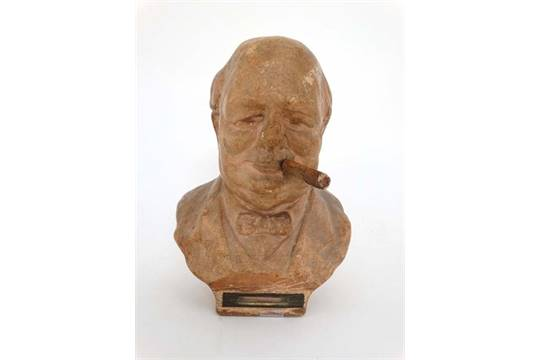 A mid 20thC Talent table lighter / bar top in the form of a bust of