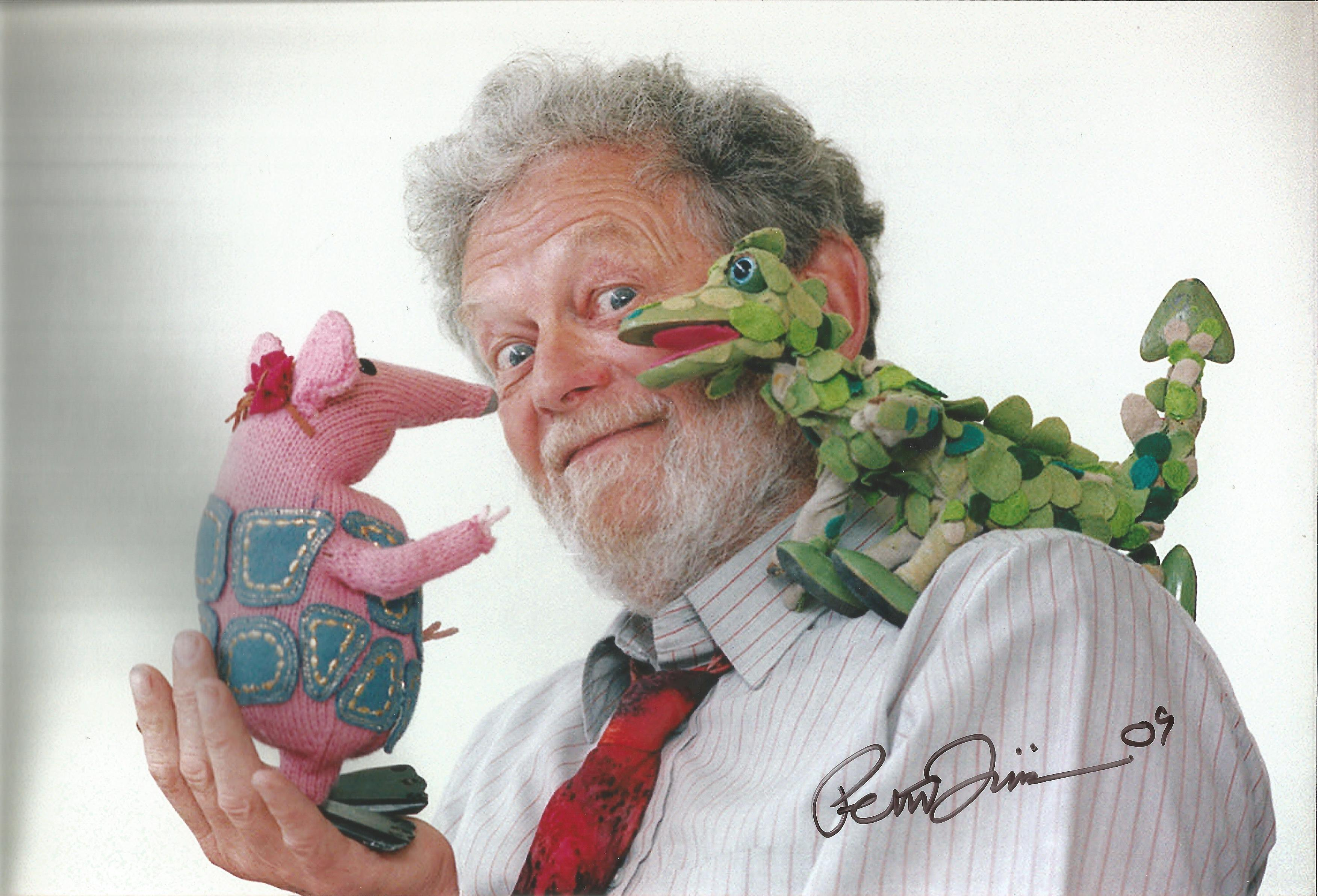 Peter Firmin 12 x 8 photo signed by Noggin The Nog, Ivor The Engine and Bagpuss Creator And