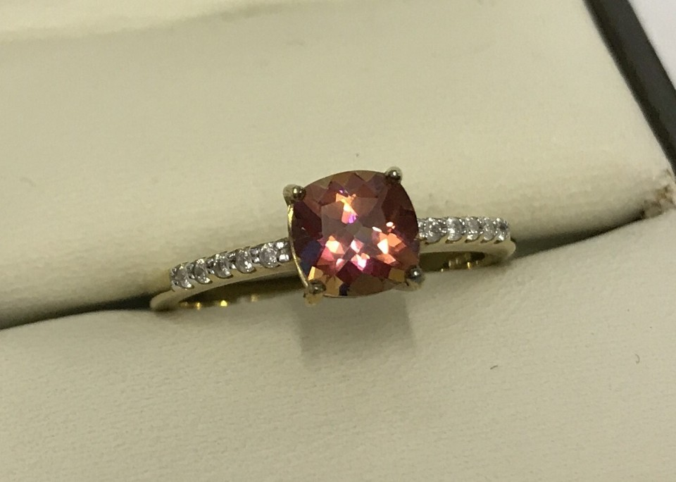 Lot 53 - Gems TV 9ct yellow gold dress ring set with Twilight Topaz and diamonds.