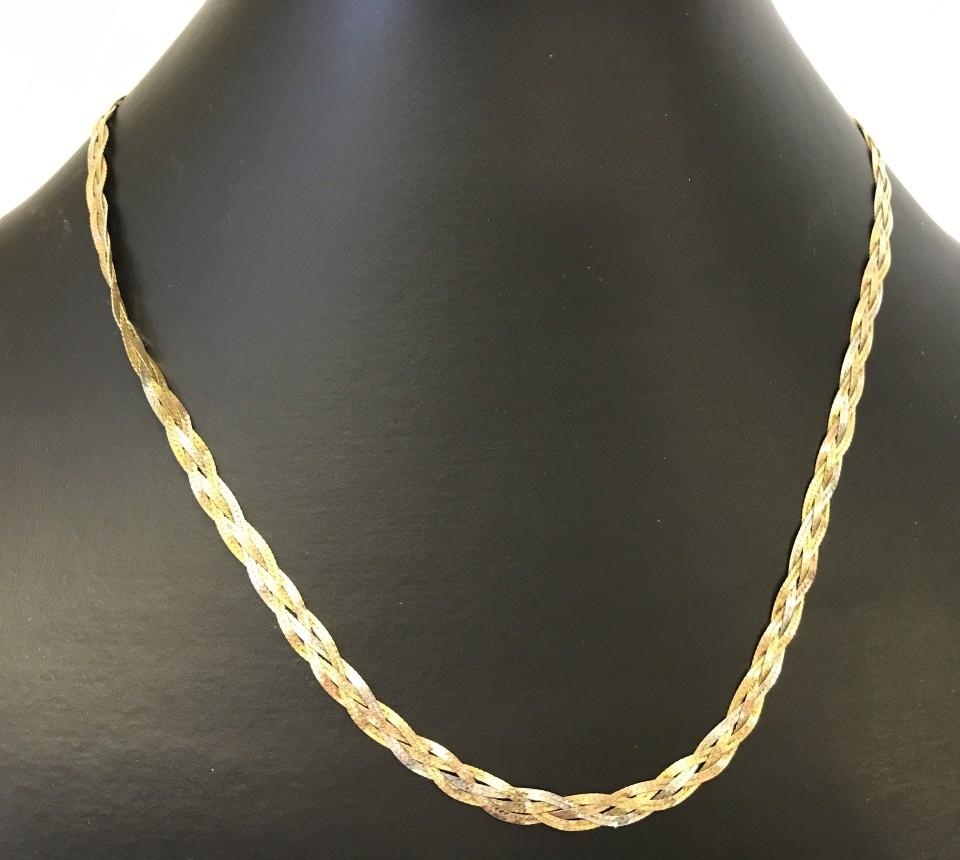 Lot 24 - 9ct tri-colour gold plaited 3 string necklace.