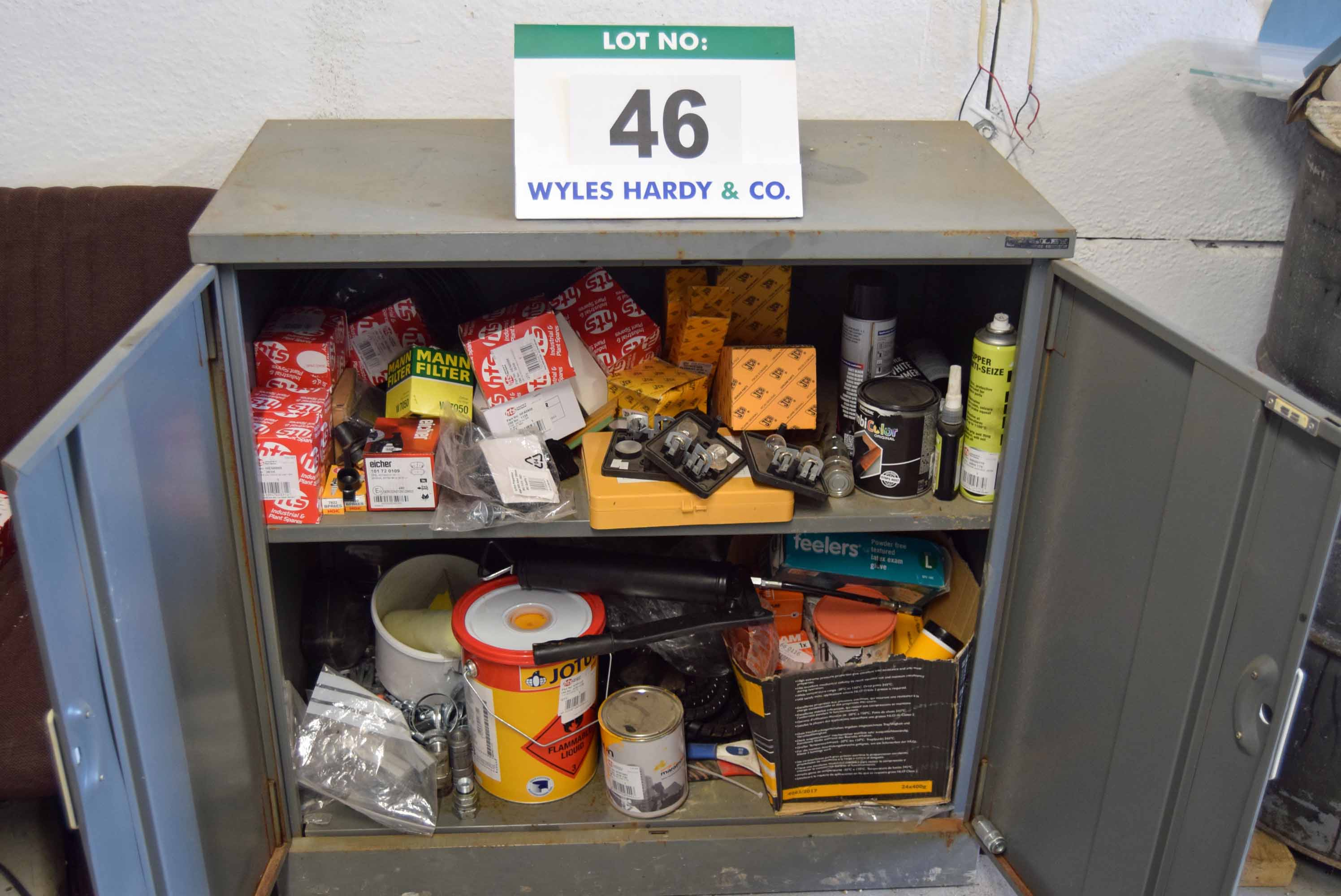 Lot 46 - A Grey Steel Double Door Low Workshop Cabinet and Contents of Assorted Mini Excavator Service Parts