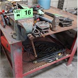 LOT/ WORK BENCH WITH VISE