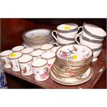 """A Royal Albert """"Westbourne"""" part teaset, and a Paragon bone china bird and flower decorated coffee"""