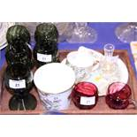 Five German green glass hocks with applied raspberry prunts, two cranberry glass punch cups and