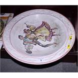 "A 19th century bone china two-handle ice pail, on bun feet, 7 1/2"" dia, a Della Robbia style"