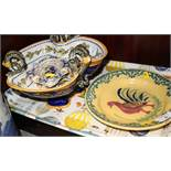 "A Ginori majolica trefoil dish with snake handles (restored), 10 1/2"" dia, a Rouen faience ashtray"