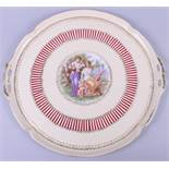 """A Vienna porcelain gilt decorated cabaret tray with Angelica Kauffman centre, 15 1/2"""" dia"""