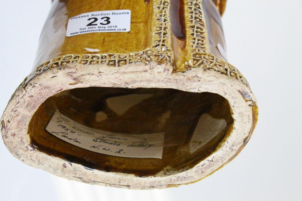 Lot 23 - Owen Jones Studio Pottery model of a Bishop with Treacle glaze finish