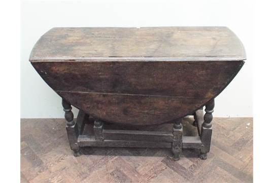 Antique Oak Gateleg Drop Leaf Dining Table Top Measuring 120 X 46cm