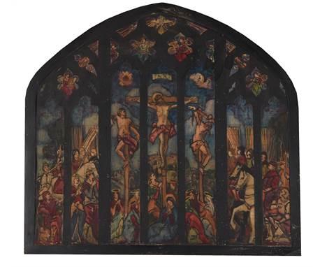 λWilfred Gabriel de Glehn (British 1870-1951)Study for a stained glass windowGouache and mixed media on paper laid to board6