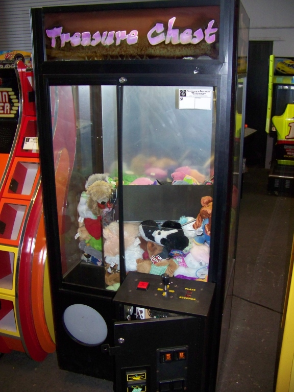 "Lot 34 - 30"""" TREASURE CHEST PLUSH CLAW CRANE MACHINE Item is in used condition. Evidence of wear and"