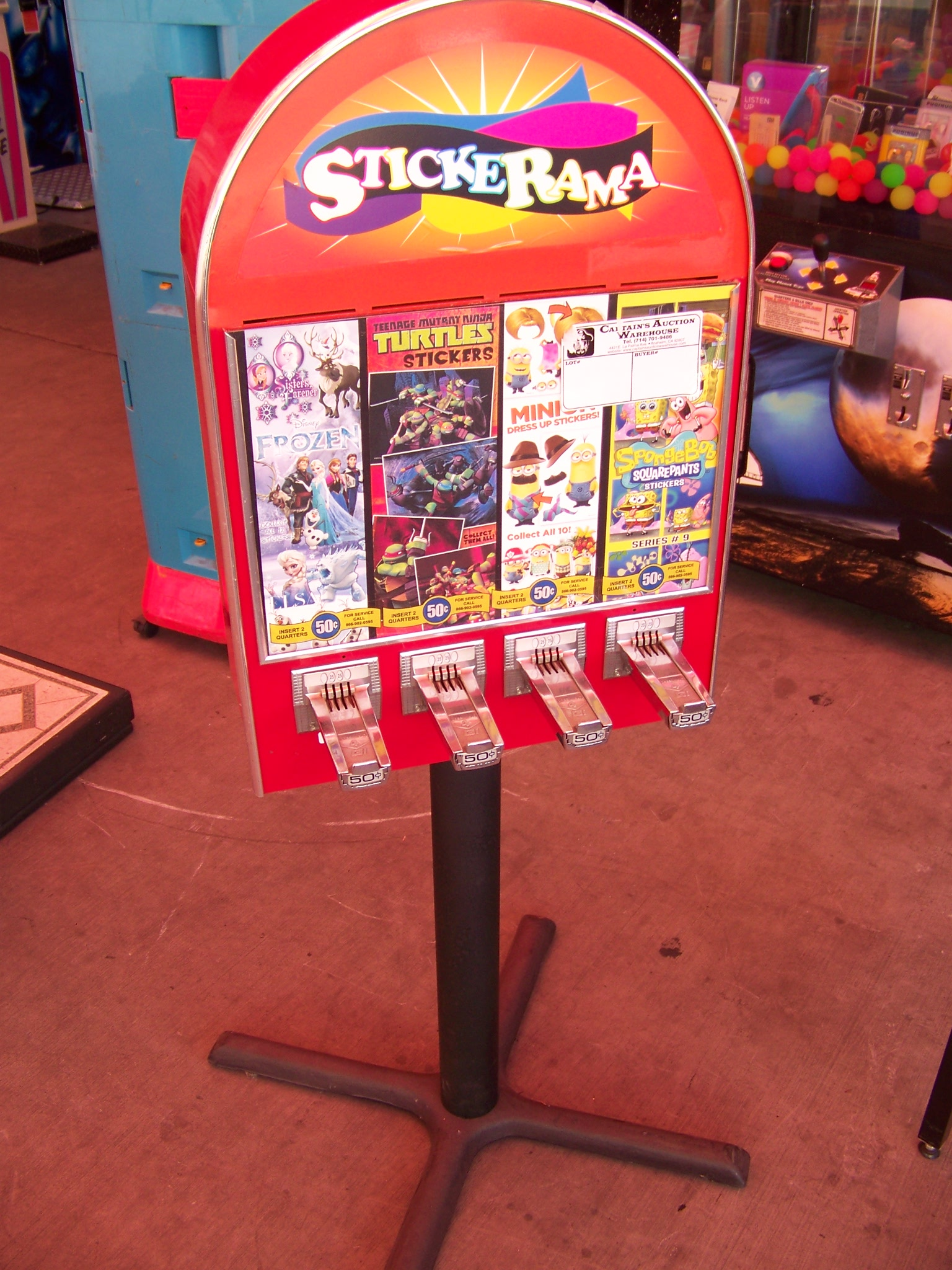 Lot 20 - 4 SELECT ALL STAR STICKER TATTOO VENDING MACHINE Item is in used condition. Evidence of wear and
