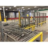 Automated Pallet Transfer System with Roller Conveyor Safety Guard Cage The fully automated pallet