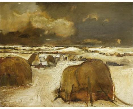 Sheila Fell R.A. (British, 1931-1979)Haystacks in Winter signed 'FELL' (lower right); further signed and titled 'HAYSTACKS IN