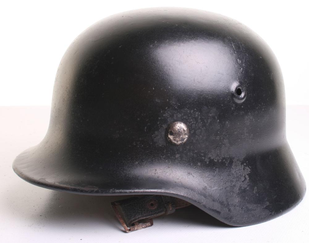 Refurbished WW2 German Home Front Helmet, being a black painted