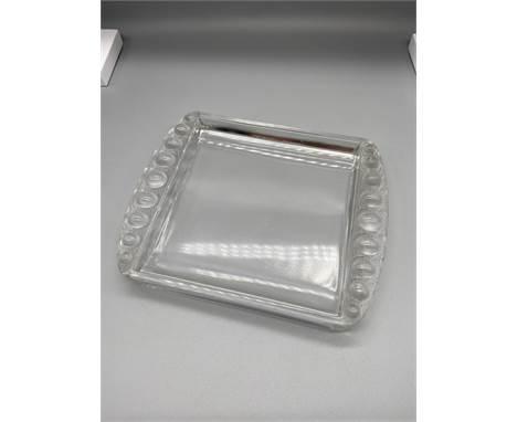 An Art Deco design Lalique France card tray. [2.5x17.5x14cm]