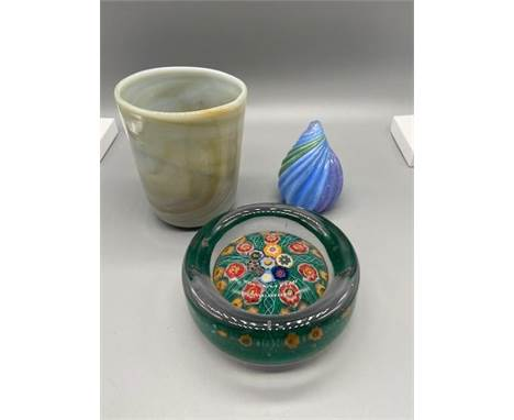 Three pieces of unique art glass. Includes Scottish pin dish, art glass cup and William twist paperweight signed and dated 20
