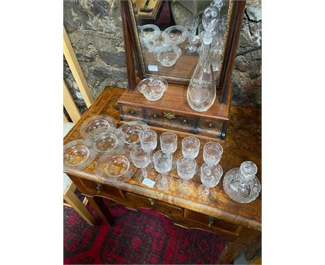 A Cut crystal perfume bottle, Facet cut decanter with engraved crest 'In Principio Erat Verbum', 6 Facet cut stem sherry glas